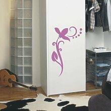 INDIGOS UG 4051095113959 Wandtattoo / Wandaufkleber - f4 abstraktes Design / filigranes Pflanzentribal mit schöner Blüte und Kreisen - Vinyl, flieder, 120 x 73 x 1 cm