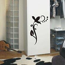 INDIGOS UG 4051095114192 Wandtattoo / Wandaufkleber - f4 abstraktes Design / filigranes Pflanzentribal mit schöner Blüte und Kreisen - Vinyl, schwarz, 225 x 120 x 1 cm