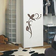 INDIGOS UG 4051095114253 Wandtattoo / Wandaufkleber - f4 abstraktes Design / filigranes Pflanzentribal mit schöner Blüte und Kreisen - Vinyl, braun, 225 x 120 x 1 cm