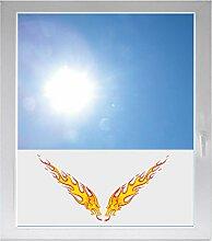 INDIGOS UG Dekoration / Sonnenschutz / Sichtschutzfolie / Glasdekorfolie / Fensterfolie mit Motiv / satiniert / blickdicht - GMD501 - zwei Drachen Feuer - 800 mm Länge - 500 mm Höhe