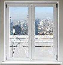 INDIGOS UG Fensterbild Glasdekorfolie Sichtschutzfolie Sonnenschutz Schilf Zugvögel Kranich satiniert blickdicht ORACAL® - 600mm Breite x 500mm Höhe - auch mit Individueller Breite