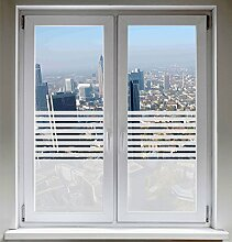INDIGOS UG Fensterfolie Sonnenschutz Sichtschutzfolie Glasdekorfolie Stripes satiniert blickdicht - 1200mm Breite x 500mm Höhe - auch mit Individueller Breite