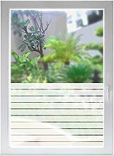 INDIGOS UG Glasdekorfolie Fensterfolie Sichtschutzfolie Sonnenschutz Streifen satiniert blickdicht - 800mm Breite x 500mm Höhe - auch mit Individueller Breite