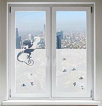 INDIGOS UG Glasdekorfolie Sonnenschutz Fensterbild Sichtschutz Gecko satiniert blickdicht - 600mm Breite x 500mm Höhe - auch mit Individueller Breite