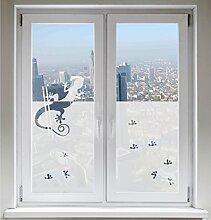 INDIGOS UG Glasdekorfolie Sonnenschutz Fensterbild Sichtschutz Gecko satiniert blickdicht - 1200mm Breite x 500mm Höhe - auch mit Individueller Breite