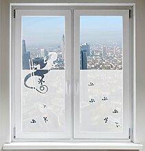 INDIGOS UG Glasdekorfolie Sonnenschutz Fensterbild Sichtschutz Gecko satiniert blickdicht - 1000mm Breite x 500mm Höhe - auch mit Individueller Breite