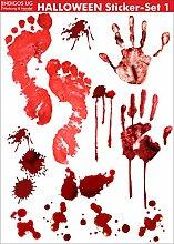 INDIGOS UG - Halloween Sticker Aufkleber - realistischer Bluteffekt - gruselig wirkende Aufkleber für zu Hause, am Fenster