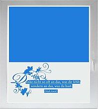 INDIGOS UG Sichtschutzfolie Glasdekorfolie Fensterfolie mit Motiv satiniert blickdicht - w179 Zitate Marc Aurel - 1200 mm Länge - 500 mm Höhe Viereck