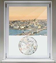 INDIGOS UG Sichtschutzfolie Glasdekorfolie Fensterfolie mit Motiv satiniert blickdicht - d108 Sexy Frau mit Blümchen - 1000 mm Länge - 500 mm Höhe Viereck