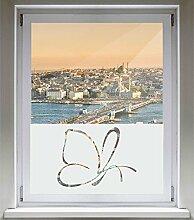 INDIGOS UG Sichtschutzfolie Glasdekorfolie Fensterfolie mit Motiv satiniert blickdicht - d318 Schmetterling fliegen - 1000 mm Länge - 500 mm Höhe Viereck