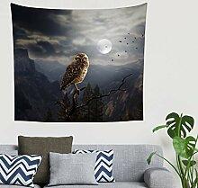 Indisch Fantasie Nacht Eulen Mond Nebeliger Berg