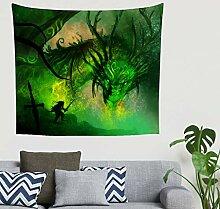Indisch Magisch Grün Drache und Krieger Gemälde
