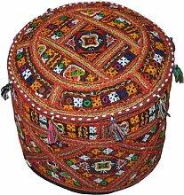 Indische Baumwolle Komfortable Bodenkissen osmanischen Abdeckung verschönert mit Patchwork und Stickerei-Arbeiten, 46 x 33 cm