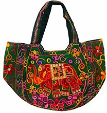 Indische Baumwolltasche grün Stickereien Spiegel Tasche Accessoire