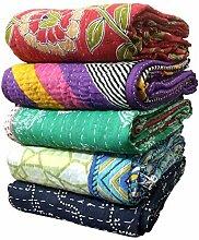 Indische Bengali Vintage Kantha Quilts Großhandel Menge von 500 Twin Size Tribal Kantha Quilts Vintage Baumwolle Bettdecke werfen alte Sari gemacht Assorted Patches gemacht Rally Whole Sale Blanke