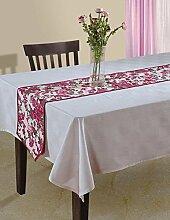 Indische Floral Ente Baumwoll-Tischläufer - 33 x 182 cm - Hot Pink, braun und weiße Rose