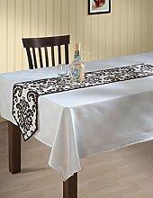 Indische gemusterten Ente Baumwolle Tisch Läufer - 33 x 182 cm - weiß und Schokolade Braun Damas