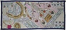Indische Patchwork Design Perlen Baumwolle Sari Wandbehang Tapisserie