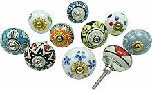 Indische runde Form Multicolor Keramik-Fach-Zug Kabinett Kn?pfe Los von 10 St?ck