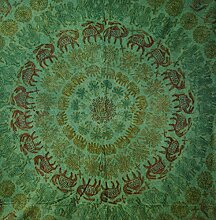 Indische Tagesdecke, bestickte Tagesdecke grün /