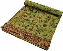 Indische Tagesdecke, bestickte Tagesdecke grün / Heimtextilien