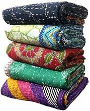 Indische Vintage Bengali Kantha Quilts Großhandel Lot von 7 Vintage handgemachte Kantha Quilts, Reversible wirf