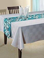 indischen floral Ente Baumwolle Tischläufer–33cm x 182cm–Türkis Blau, Weiß und Grau Rose