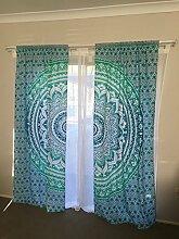 indischen Mandala Vorhang, dekorative Fenster Drapes, Bohemian Verdunkeln Vorhang, Home Decor Weihnachten Vorhang, Ethnic Fenster Schiebevorhang, Baumwolle Vorhang für Wohnzimmer Muster 1
