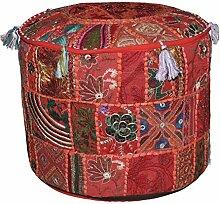 Indischen Vintage-osmanischen verschönert mit Stickerei & Patchwork Hocker Bodenkissen, 46 x 33 cm