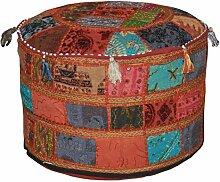 Indischen Vintage-osmanischen verschönert mit Stickerei & Patchwork Fuß Hocker Bodenkissen, 58 x 33 cm
