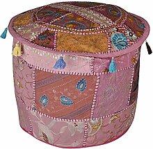 indischen Wunderschöne Stickerei Design Baumwolle Patchwork Pouf osmanischen