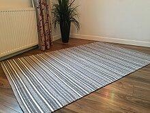 Indischer Kelim-Teppich aus Baumwolle, Hellgrau
