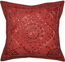Indischer Seide, handgefertigt, Baumwolle, bestickt, Design Kissenbezug 40 x