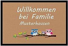 Individuell bedruckte Fußmatte - Eulenfamilie -
