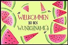 Individuelle Fußmatte Melone mit Ihrem Namen oder