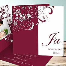 Individuelle Hochzeitseinladungen, Garten der Träume 50 Karten, Quadratische Klappkarte 145x145 inkl. weißer Umschläge, Ro