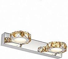 Indoor Bad Crystal Make up Spiegel Kabinett LED-Licht, Wohnzimmer Kristall Edelstahl moderne wasserdichte Anti-Fog Wandleuchte, weiß,Runde-Champagner - 32CM
