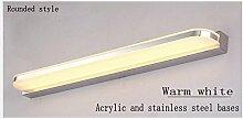Indoor Edelstahl Bad Spiegel Schrank LED-Licht, Wohnzimmer wasserdichte Anti-Fog-Wandleuchte Bad Spiegel Lampen, White/Warm weiß ,60cm-10W-Warm weiß