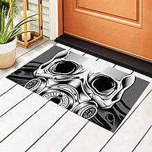Indoor Fußmatte Schädel Atemschutzmaske Hand
