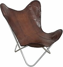 Indoortrend.com Butterfly Chair Design Sessel Lounge Stuhl Glatt Leder Braun Loungesessel Retro