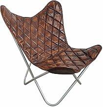 Indoortrend.com Butterfly Chair Design Sessel Lounge Stuhl Vintage Echt Leder Braun Loungesessel
