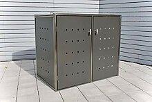INDRA Design 2er Mülltonnenbox Edelstahl für 2