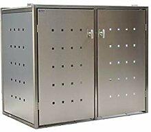 INDRA Design 2er Mülltonnenbox Edelstahl/Kombi