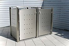 INDRA Design 2er Multimax Mülltonnenbox Edelstahl