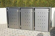 INDRA Design 3er Multimax Mülltonnenbox Edelstahl