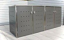 INDRA Design 4er Mülltonnenbox Edelstahl für 4