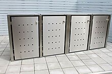 INDRA Design 4er Multimax Mülltonnenbox Edelstahl
