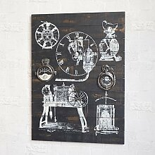Industrial Air amerikanischen Dorf mechanische Werkzeuge Wandbild Wanduhren retro h?ngenden Bild,Gro?e-Mit Uhren