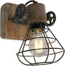 Industrial Holz Wand Leuchte Käfig Lampe Spot