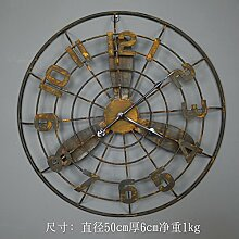 Industrial Style elektrischen Ventilator Modell Wanddekoration Clock Bar Café Wanduhr, 50 * 6 Cm, Gelb